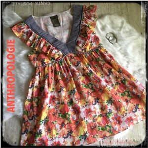 Anthropologie Fei Floral Ruffle Empire Top